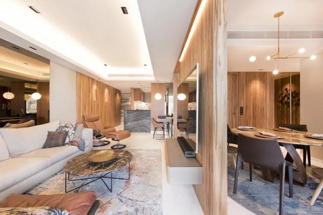 Thiết kế nội thất phòng khách cho 1 đại gia thích đồ gỗ và sông tại một căn hộ cao cấp 5 sao có diện tích trên 100m2
