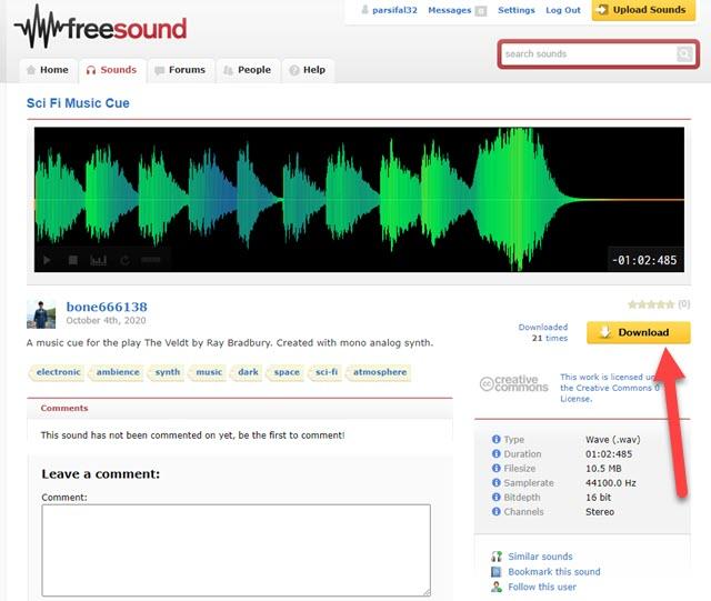 scaricare effetti sonori da freesound