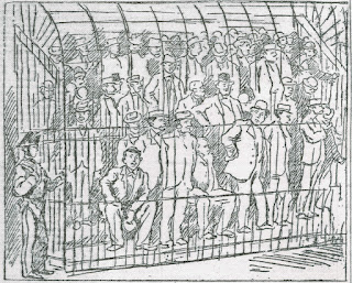 A grey line sketch on newspaper of several dozen men, variously dressed, seated and standing on tiered benches in a sort of cage (a courtroom dock?) a uniformed guard stands watch.