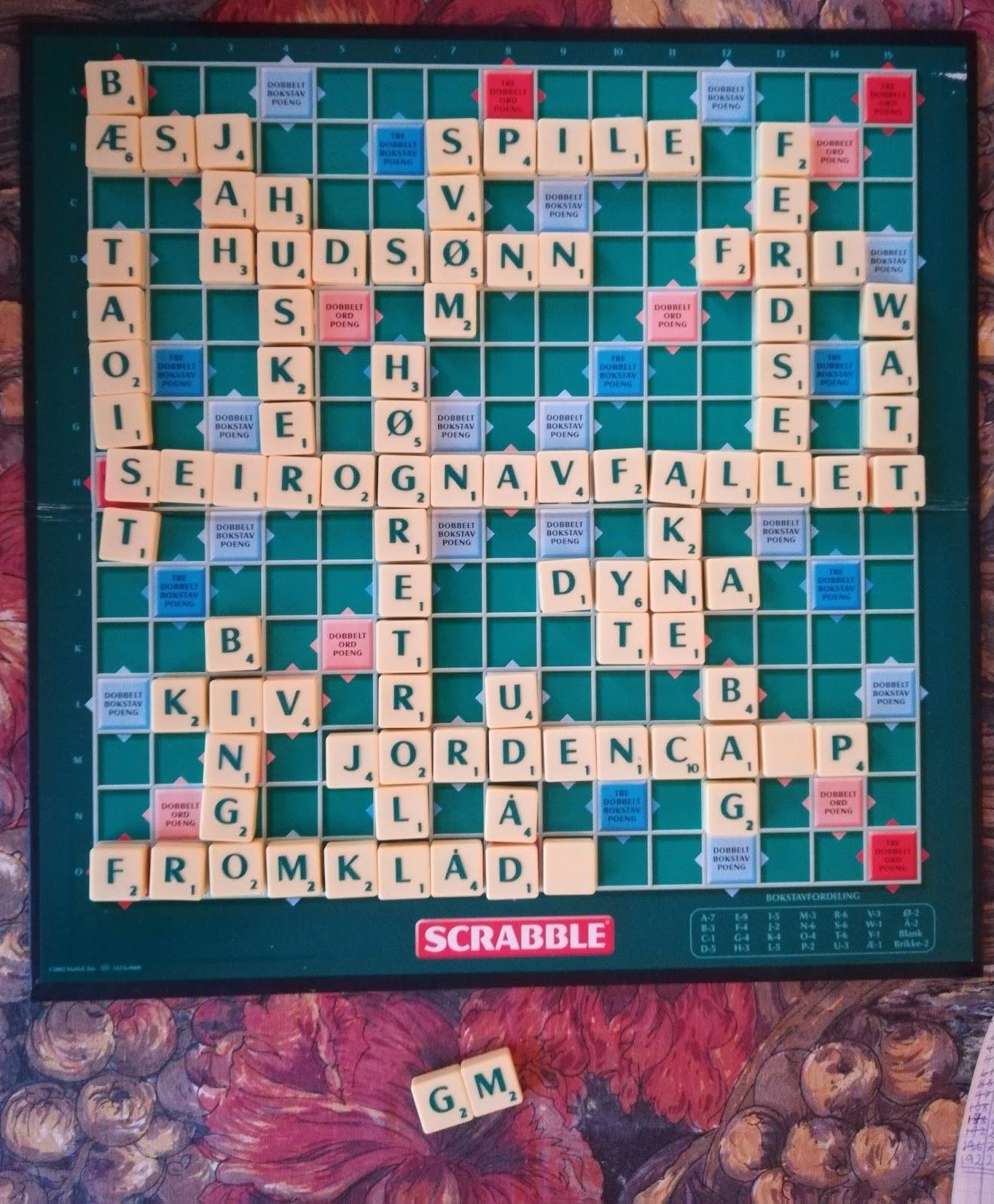 Scrabblebrettet vårt fullført med flere fine VG-ord prominent til stede.