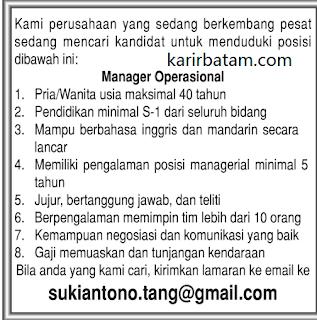 Lowongan Kerja Manager Operasional Lulusan S1