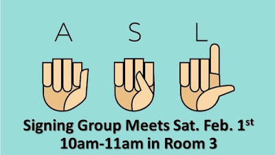 "poster with hands spelling ""ASL"" and time of meeting"