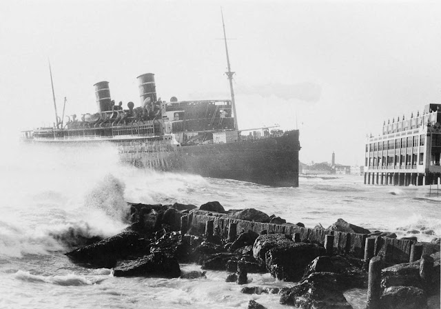 The wreck of the Morro Castle in the process of being pushed out to sea by salvage engineers.
