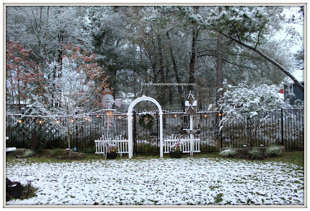 Texas Snow 20017-Christmas-Farmhouse-White Picket Fence-Garden Arbor-Windmill-From My Front Porch To Yours