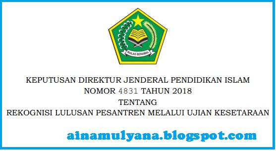 Keputusan Dirjen Pendis Nomor 4831 Tahun 2018 Tentang Juknis Rekognisi Lulusan Pesantren Melalui Ujian Kesetaraan