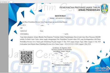 CONTOH SERTIFIKAT Pelatihan GO-BOOK JATIM CERDAS