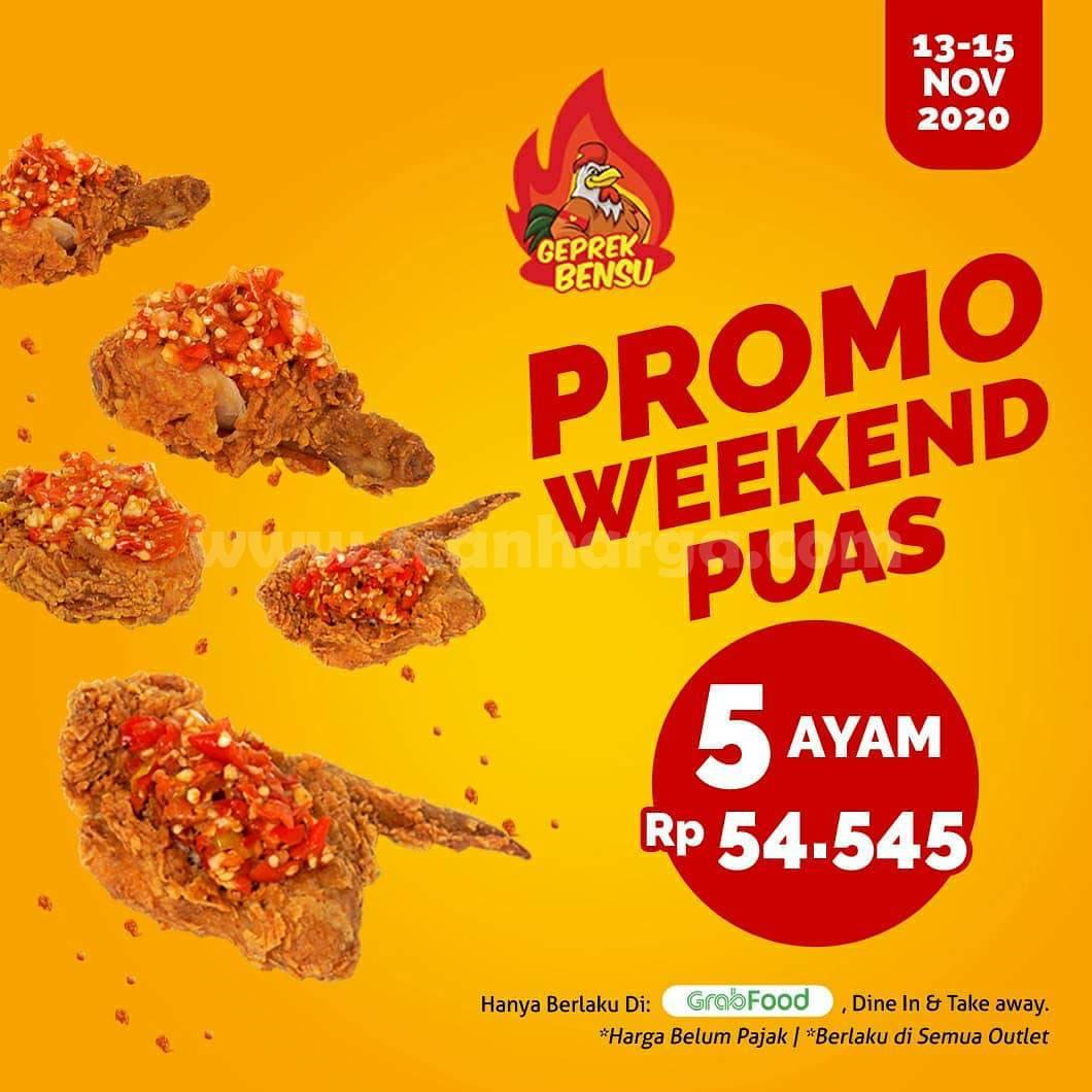 Promo Geprek Bensu Weekend Puas: Paket 5 Ayam cuma Rp 54.545,-