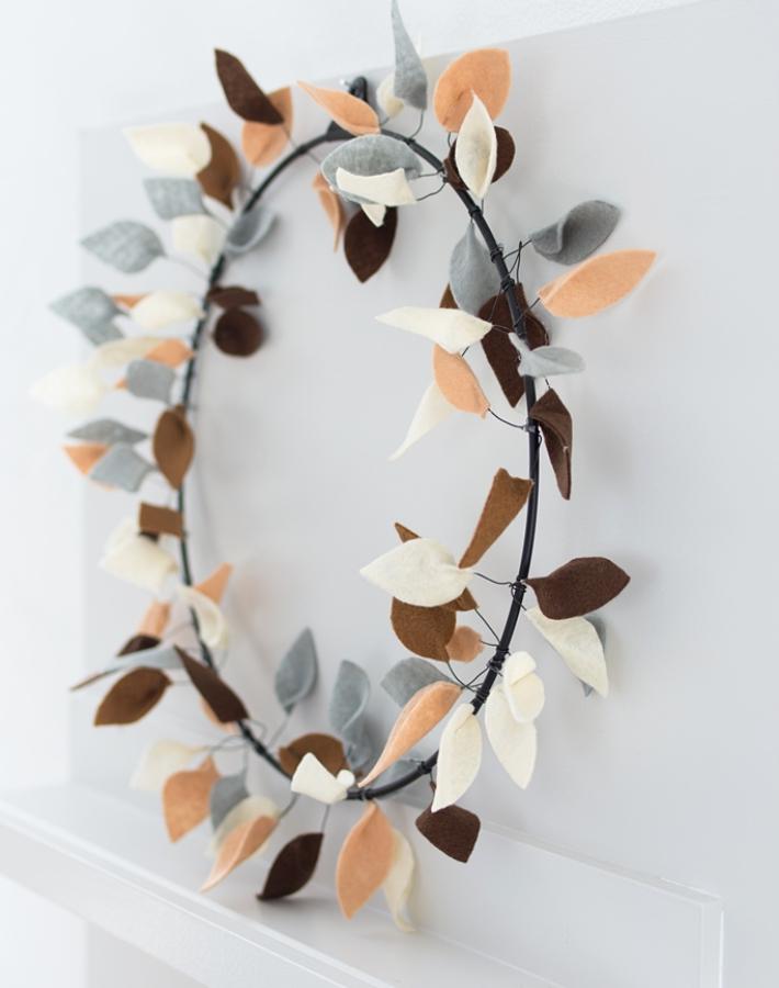 Diy Corona para adornar la pared en otoño