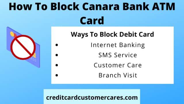 How To Block Canara Bank ATM Card