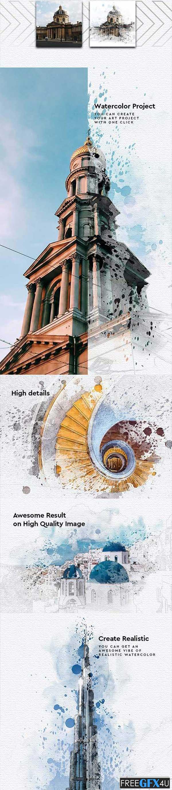 Watercolor Project Architecture Photoshop Action