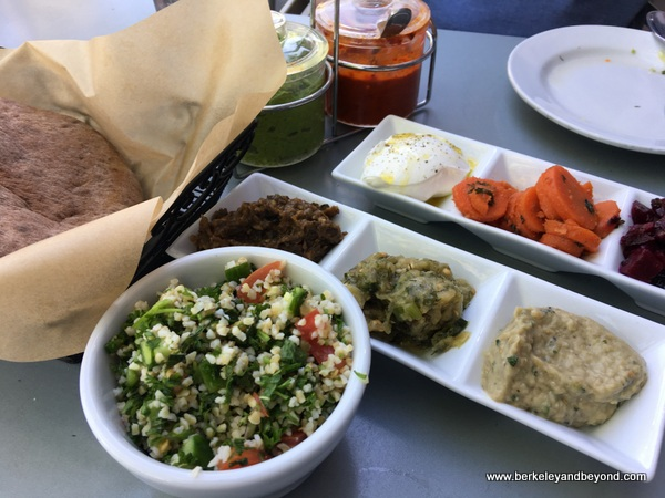 dinner items at Oren's Hummus Shop on Castro Street in Mountain View, California