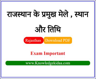 राजस्थान के प्रमुख मेले , स्थान और तिथि ( Important Fairs of Rajasthan ) | PDF Download |