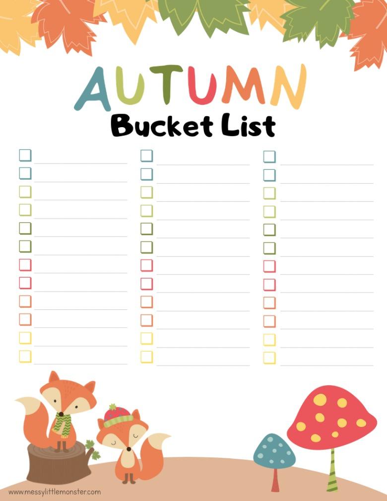 printable blank Autumn bucket list