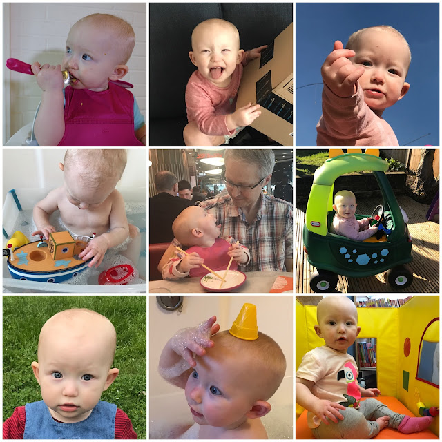 Collage of 9 photographs of my baby girl in the month 13 to 14. Including playing in the garden and the bath