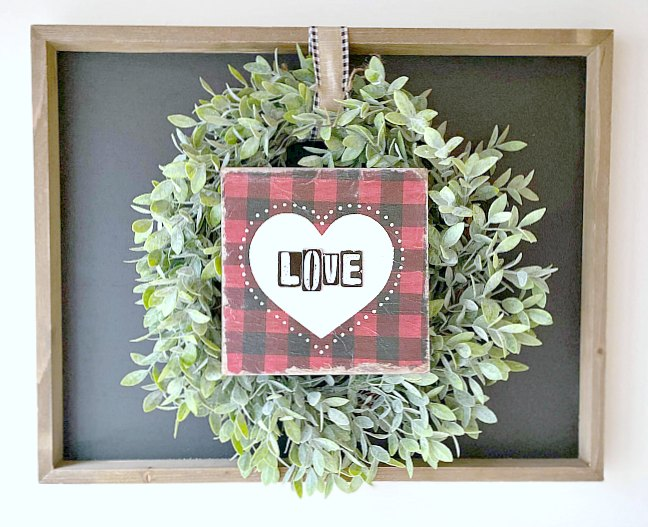 Decoupaged Napkin Valentine's Day Sign