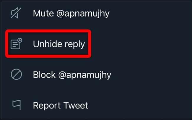 hide twitter replies