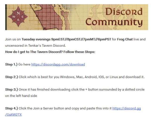 Tenkar's Tavern: Frog Chat Tonight - 9 PM Eastern - Bill
