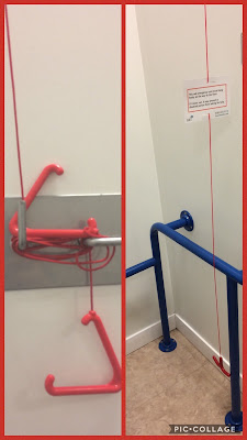 The photo on the left is of a tightly tied up red cord. The photo on the right is of the cord hanging freely ad accessible to be used.