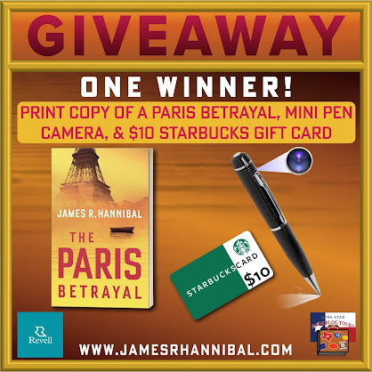 The Paris Betrayal tour giveaway graphic. Prizes to be awarded precede this image in the post text.