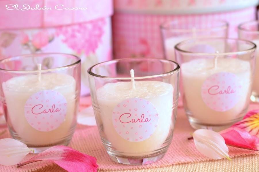 Detalles para bautizos en rosa velas aromaticas personalizadas el jabon casero