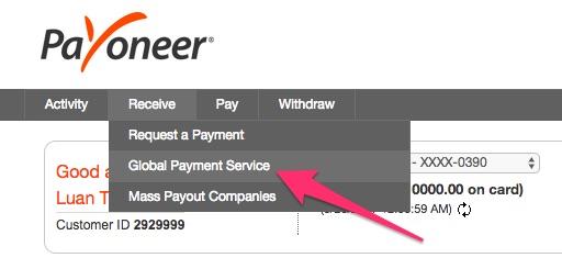 thông tin tài khoản ngân hàng US để nhận tiền về Payoneer