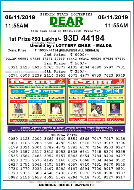 Sambad lottery 06-11-2019 Sikkim State Lottery Result 11.55 AM-lotterysambadresults.com