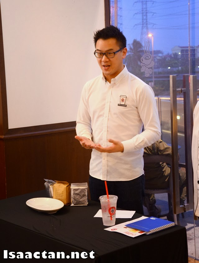 Mike Yung explaining the differences between each coffee blend