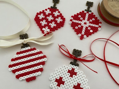 Hama bead Christmas baubles with ribbon