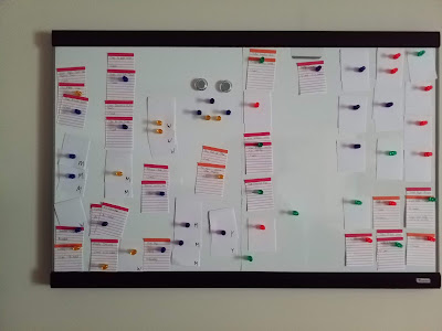 whiteboard filled with chores on index cards