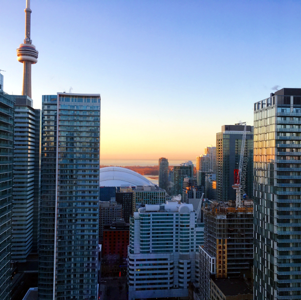 CN Tower and Lake Ontario, Toronto at Sunrise