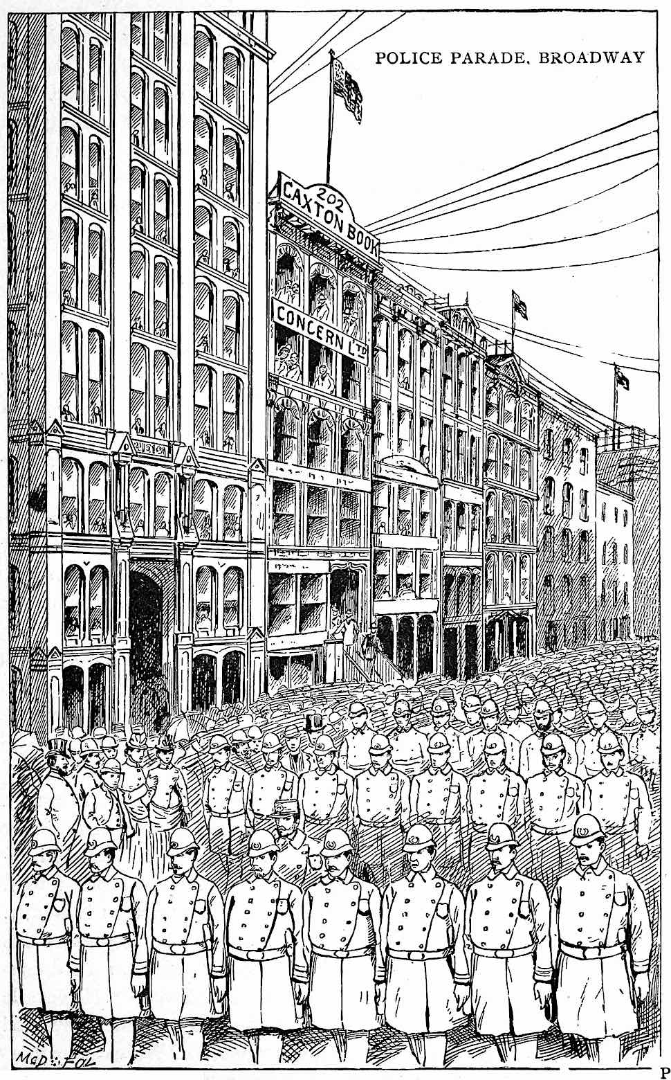 1888 USA illustration of a police parade on Broadway