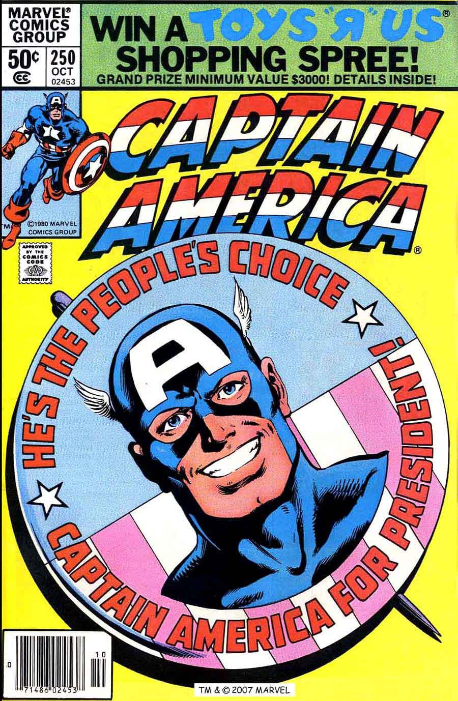 Captain America #250 marvel 1980s bronze age comic book cover art by John Byrne