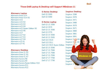 These Dell & HP Laptop/Desktop will Support Windows 11   These Dell Laptop & Desktop will Support Windows 11   Dell  Alienware Laptop Alienware Area-51m Alienware Area-51m R2 Alienware m15 Alienware m15 R2 Alienware m15 R3 Alienware m15 R4 Alienware m15 Ryzen Edition R5 Alienware m15 R6 Alienware m17 Alienware m17 R2 Alienware m17 R3 Alienware m17 R4 Alienware x15 R1 Alienware x17 R1   Alienware Desktop Alienware Area-51 R4 Alienware Area-51 R5 Alienware Area-51 R7 Alienware Aurora R8 Alienware Aurora R9 Alienware Aurora Ryzen Edition R10 Alienware Aurora R11 Alienware Aurora R12   G-Series Desktop Dell G5 5000 Dell G5 5090  G-Series Laptop Dell G3 15 3500 Dell G3 3579 Dell G3 15 3590 Dell G3 3779 Dell G5 15 5500 Dell G5 15 5505 Dell G15 5510 Dell G15 5511 Dell G15 5515 Ryzen Edition Dell G5 15 5590 Dell G7 15 7500 Dell G7 15 7588 Dell G7 15 7590 Dell G7 17 7700 Dell G7 17 7790  Inspiron Desktop Inspiron 3280 Inspiron 3470 Inspiron 3471 Inspiron 3480 Inspiron 3670 Inspiron 3671 Inspiron 3880 Inspiron 3881 Inspiron 3891 Inspiron 5400 All-in-One Inspiron 5401 All-in-One Inspiron 5477 Inspiron 5490 All-in-One Inspiron 5491 All-in-One Inspiron 5676 Inspiron 5680 Inspiron 7700 All-in-One Inspiron 7777 Inspiron 7790 All-in-One  Inspiron Laptop Inspiron 3480 Inspiron 3481 Inspiron 3482 Inspiron 3490 Inspiron 3493 Inspiron 3501 Inspiron 3502 Inspiron 3505 Inspiron 3580 Inspiron 3581 Inspiron 3582 Inspiron 3583 Inspiron 3584 Inspiron 3590 Inspiron 3593 Inspiron 3780 Inspiron 3781 Inspiron 3782 Inspiron 3785 Inspiron 3790 Inspiron 3793 Inspiron 13 5300 Inspiron 13 5301 Inspiron 13 5310 Inspiron 13 5370 Inspiron 5390 Inspiron 5391 Inspiron 5400 2-in-1 Inspiron 5401/5408 Inspiron 5402/5409 Inspiron 5405 Inspiron 5406 2-in-1 Inspiron 14 5410 2-in-1 Inspiron 14 5410/5418 Inspiron 5415 Inspiron 5480 Inspiron 5481 2-in-1 Inspiron 5482 2-in-1 Inspiron 14 5485 Inspiron 14 5485 2-in-1 Inspiron 5488 Inspiron 5490 Inspiron 5491 2-in-1 Inspiron 5493 Inspiron 5494 Inspiron 5501/5508 Inspi