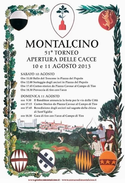 Program of Montalcino village festival, august 2013