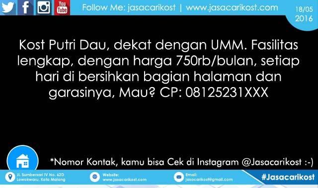 Kost Putri Dau Dekat UMM #227 - Jasa Cari Kost Malang - Info Kost Malang