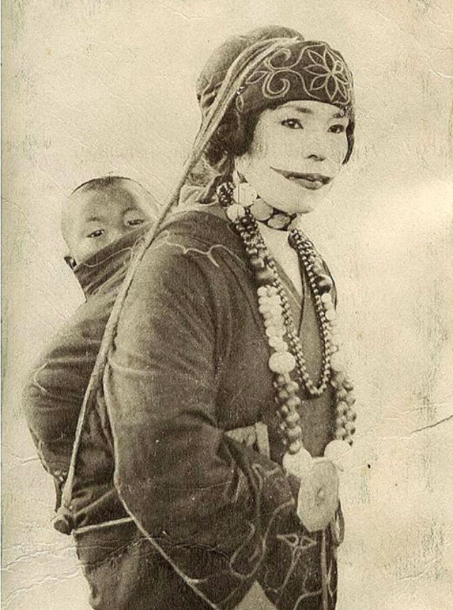 a beauty to give the thrill  20 vintage portraits of ainu women from northern japan with their