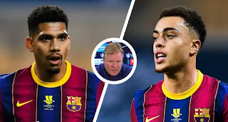 Barcelona boss Koeman refuses to rule Araujo out for PSG first leg tie