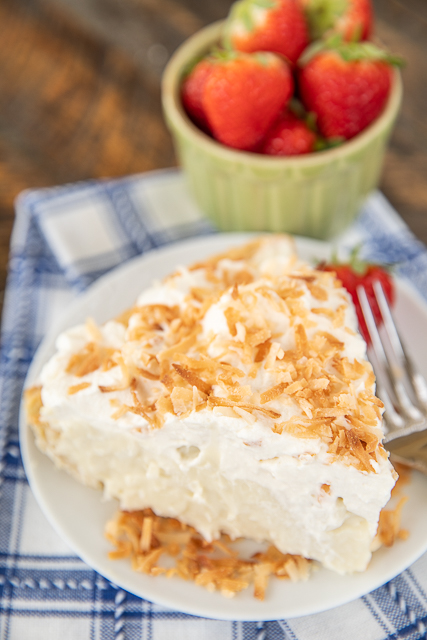 coconut cream pie on a plate