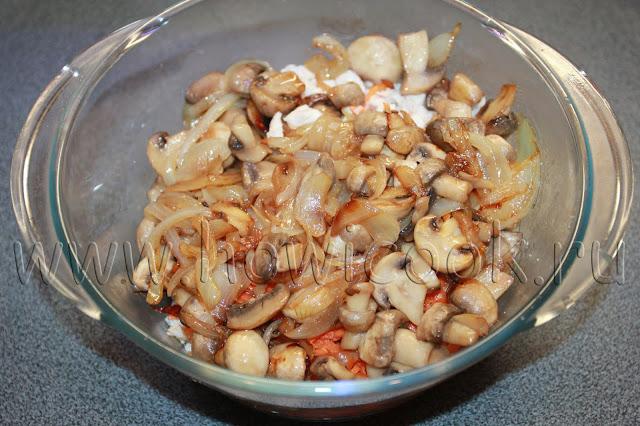 рецепт салат с курицей, морковкой по-корейски и грибами с пошаговыми фото