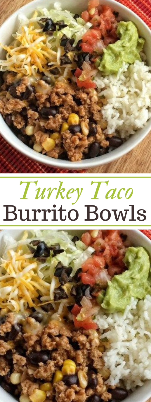 Turkey Taco Burrito Bowls #dinner #turkey #healthyrecipes #bowls #yummy