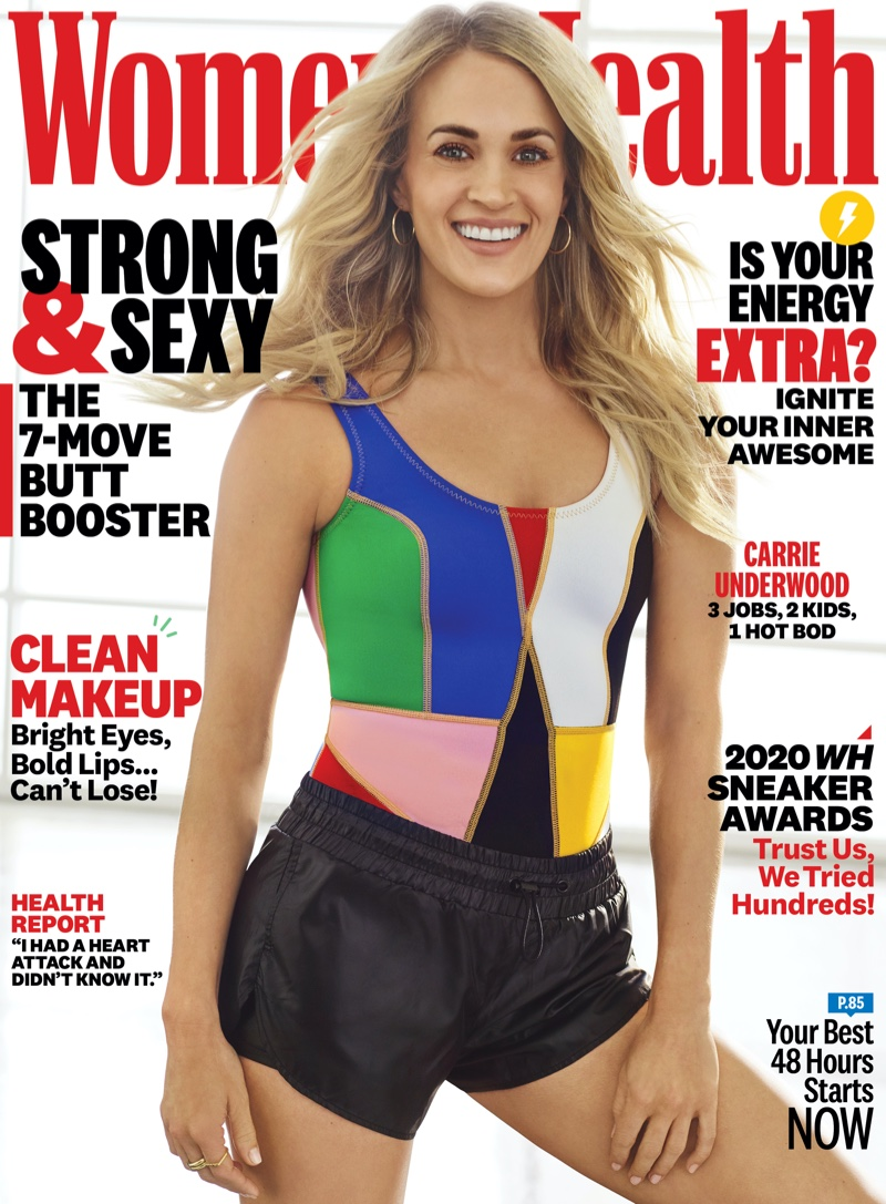 Carrie Underwood flaunts athleisure pieces for Women's Health April 2020