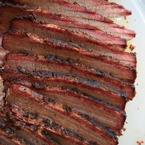 Sliced smoked brisket featuring Chairman Reserve Angus