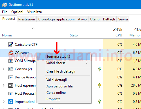 Task Manager di Windows termina attivita CCleaner