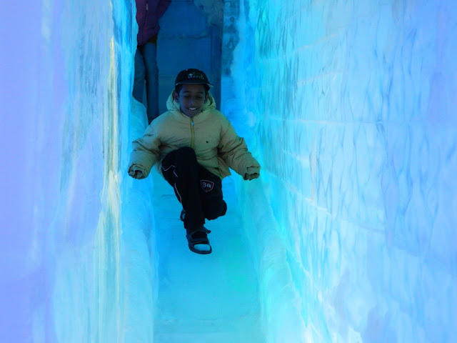 Trying the ice slide