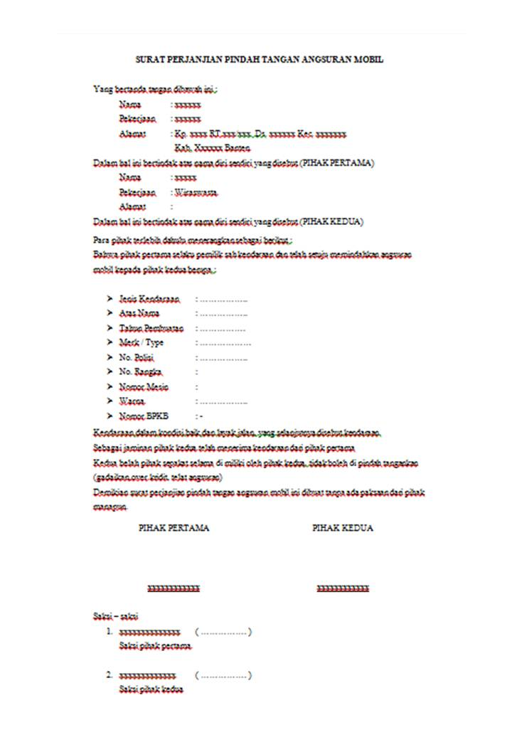 Contoh Surat Perjanjian Pindah Tangan Angsuran Mobil Husnuls492 Com