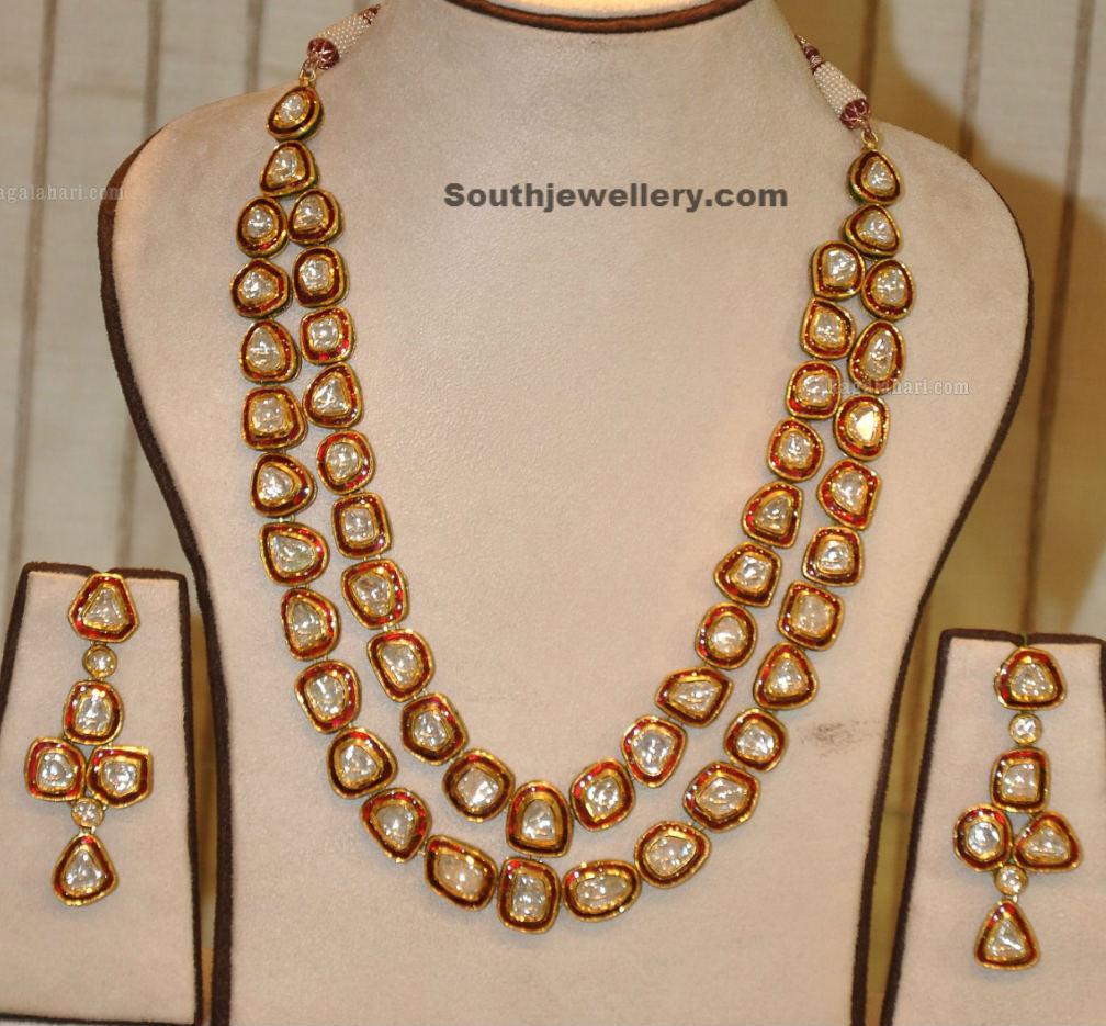 Kundan Long Chain and Earrings Jewellery Designs