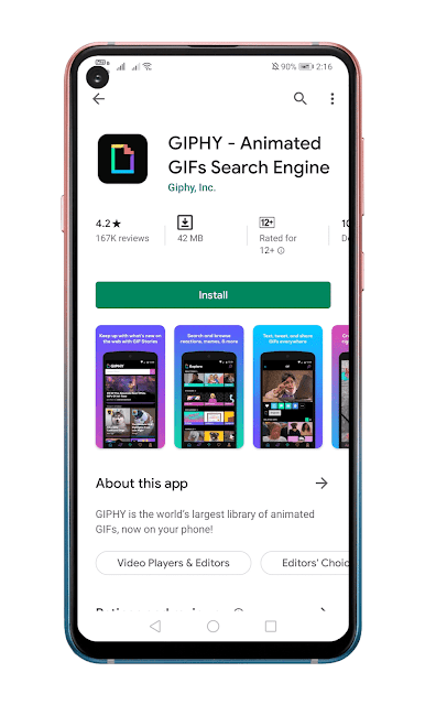 unduh dan instal aplikasi GIPHY