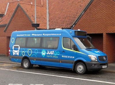 A JustGo bus in Brigg on the opening day of the new North Lincolnshire service - September 7, 2020