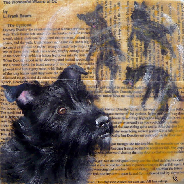 Oil painting of Cairn Terrier, Toto, Wizard of Oz