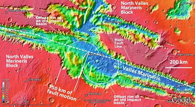 inwards which an older circular basin created past times an touching is offset for close  Scientist discovers plate tectonics on Mars